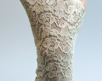 Lace Gloves in Stone trim, fingerless lace gloves, stretchy lace, lace mittens