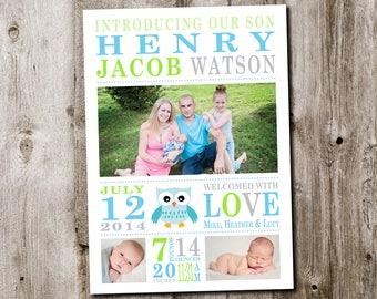 Custom Baby Boy Owl Birth Announcement Card - printable digital file