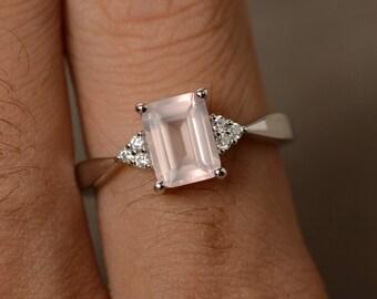 Pink Quartz Ring Sterling Silver Promise Ring Pink Gemstone