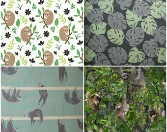 Sloth & Palm Leaf Cotton Fabric! [Choose Your Cut Size]