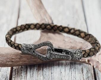 mens bracelet silver mens leather bracelet men gift for men anniversary gift for boyfriend gift husband gift for him college student gift
