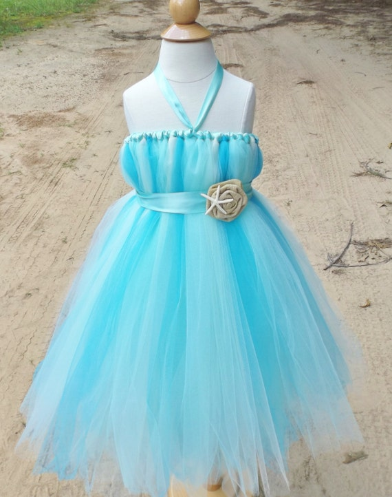 Beach wedding flower girl dress aqua flower girl dress blue