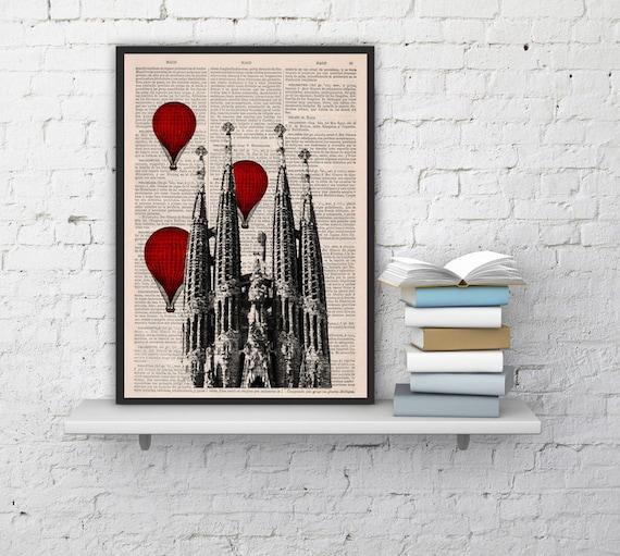 Barcelona Sagrada Familia Balloon Ride Print on Vintage Book art Gaudi Holy Family BPTV019b