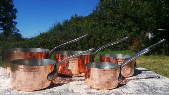 Copper Pans Havard of Villedieu Tin Lined  Copper Five 1.7 -2.1mm Vintage French Copper Professional Villedieu Graduated Pots Hammered