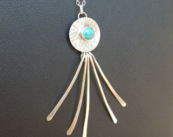 Sterling Silver Turquoise Sunburst Necklace