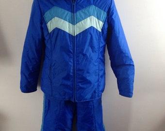 Vintage 70s 80s Two piece Ski Suit Jacket and matching Ski Bibs womens medium retro ski suit snowmobile two tone blue