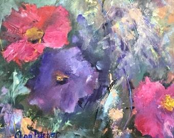 Floral, Original Oil Painting Ann Parker, Spring Bouquet, Oil on Canvas Board, Unframed
