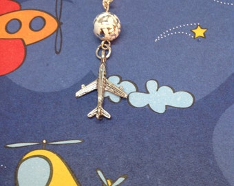 Sterling Sliver Airplane Cell phone charm, cell phone dust plug charm, dust plug, dust plug charm, iphone charm, phone charm, headphone