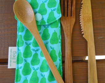 Reusable bamboo cutlery and carrying pouch  - Picnic cutlery case - Bamboo cutlery - Zero waste lunch -  Green pears
