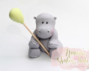 Hippo Edible Cake Topper