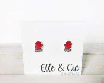 Mittens, Christmas earrings
