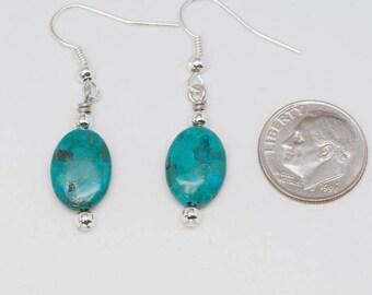 Turquoise Earrings, Reconstituted Turquoise, Reiki Jewelry, Gemstone Jewelry, Lever Back Earrings, Zen Jewelry, Rieki, Reiki Energy, Zen
