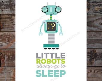 Little Robots Go to Sleep Kids Wall Art Robot Print Cute Robot Print for Boys Room Robot Nursery Print White Green Blue Poster