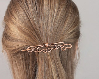 Plain Copper Hair Barrette with Stick Wire Wrapped with Copper Bead, Hair Clip for Women Handmade