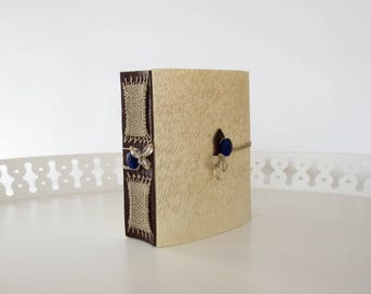 Handmade Blank Book Empty Journal Artists Large Account Style Binding Hand Bound Flax Paper Parchment Thick Diary Small Fat Glass Beads