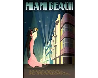 Miami Beach Florida Travel Poster Retro South Beach High Fashion Art Deco Print 214