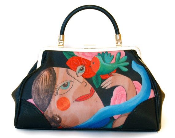 Retro handbag, vintage handbag, Fly, illustrated, butterfly, flower, vintage, rockabilly, retro, hollywood, glamour, 1950, xmas, gift, red