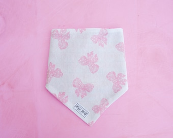 Pink reversible bandana for dogs and cats. Tie on dog bandana. Dog bandana