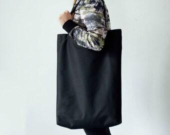 Black Shoulder Bag, Black Canvas Tote Bag, Large Canvas Tote Bag, Long Tote Bag, Bohemian Bag, Beach Bag, Travel Bag, Shoulder Bag for Women