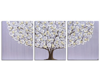 Nursery Wall Art Trio, Large Tree with Sculpted Flowers, Painting on Canvas for Baby Girl's Purple Nursery -  50x20