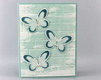 Butterfly Card - Hand Stamped Card - Stampin Up Card - Glitter Card - Birthday Card - Nature Card - Thank You Card - Pop Up Card