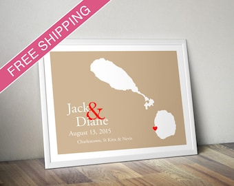 Custom Wedding Gift : Personalized Wedding Location and Country Map Print - St Kitts and Nevis - Engagement Gift, Wedding Guest Book