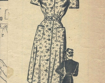 1940s Marian Martin 9047 Mail Order Women's Dresse Sewing Pattern