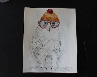 Original Watercolor Owl 8.5in x 10.5in