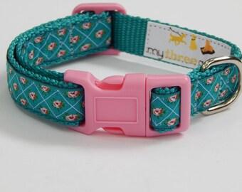Pink Rose Dog Collar, Teal and Pink Dog Collar, Adjustable Dog Collar, Girl Dog Collar, Rose Bud Dog Collar