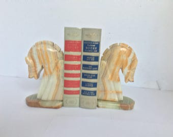 Alabaster Agate Stone Horse Head Bookends