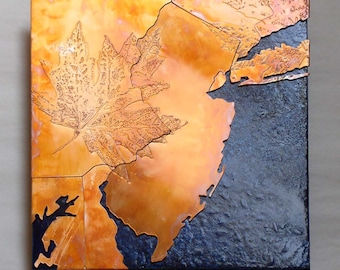 Copper Map Art of New Jersey, New York City copper on blue, 8 in