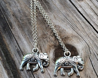 Tribal Elephant Necklace, Charm Necklace, Elephant Necklace