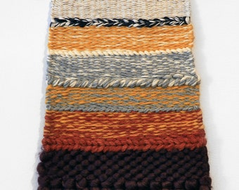 Handmade Tapestry Weaving Wall Hanging/Decor - Fall Colors/Rust/Yellow/Plum/Grey/Ivory