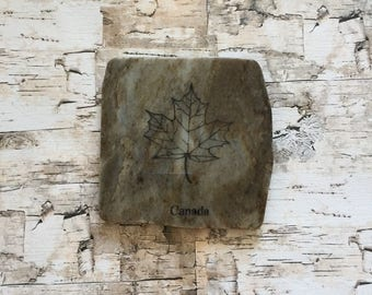 Natural Stone Coaster - Canada Maple Leaf