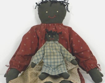 2 Vintage Black Americana Cloth Rag Dolls/Black Folk Art/Mother and Child/Handmade