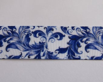 Ribbon grosgrain Ribbon 22mm wide blue and white