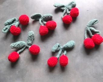 Crocheted Cherries and Stems Add to Clothing--Home Decor--Crafts--Etc.