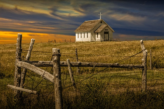 Old Rural Country Church At Sunset On The Prairie In South