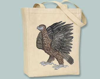 Primitive Eagle Bookplate Illustration Tote  -- Selection of sizes available