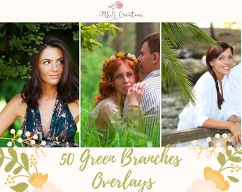 50 Green Branches Overlays, Photoshop Overlays, trees overlays, green leaves, spring summer Photoshop Overlay, Nature overlays, grass lawn