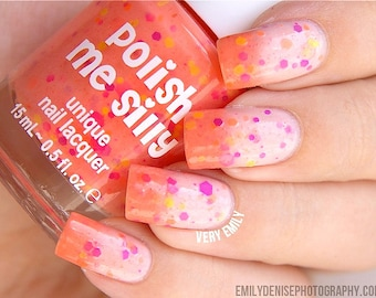 Creamsicle Surprise- -Color Changing Thermal Nail Polish:  Custom-Blended Indie Glitter Nail Polish / Lacquer
