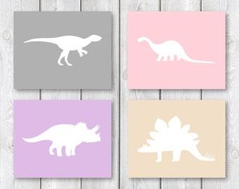 """NEW Dinosaur Bedroom 8""""x10"""" Printable Sign Set    Dinosaur Wall Art    Girl Bedroom Decor, Dinosaur Nursery Wall Art Decor (DIGITAL PRODUCT)"""