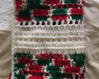 Hand Crochet Lapghan Blanket Christmas green red white multi