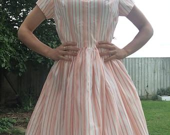 Vintage Striped Dress - 1960s Vintage Dress - Fit Flare Dress - Vintage Peach Dress - Small Vintage Dress - Vintage Summer Dress