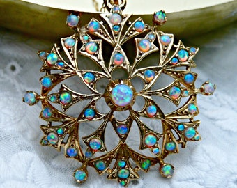 Vintage Victorian Style 9ct 9k Gold Fire Gilson Opal Star Cluster Pendant Necklace Circa 1980, October Birthstone Anniversary Gift