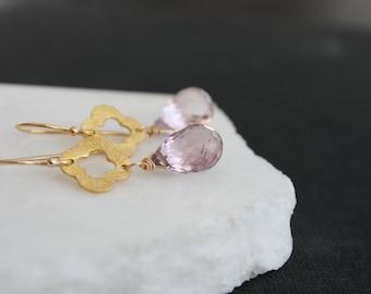 Dangle Earrings l Gold Quatrefoil Earrings | Gold Clover Earrings | Gemstone Earrings | Minimalist Earrings | Ametrine Drop Earrings