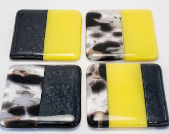 Handmade Fused Glass Coasters pack of 4