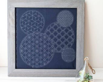 Sashiko Embroidery Kit | Japanese Hand Embroidery, Sashiko Fabric with Pre-Printed Pattern - MIXED PATTERN (SC-05)
