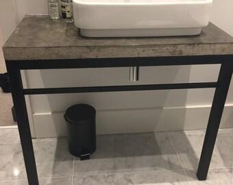 handmade concrete shelf with steel frame (shelf for counter top sink)