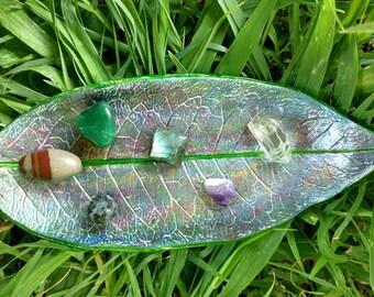 Multi-color Leaf Imprint Jewelry/Crystal Dish